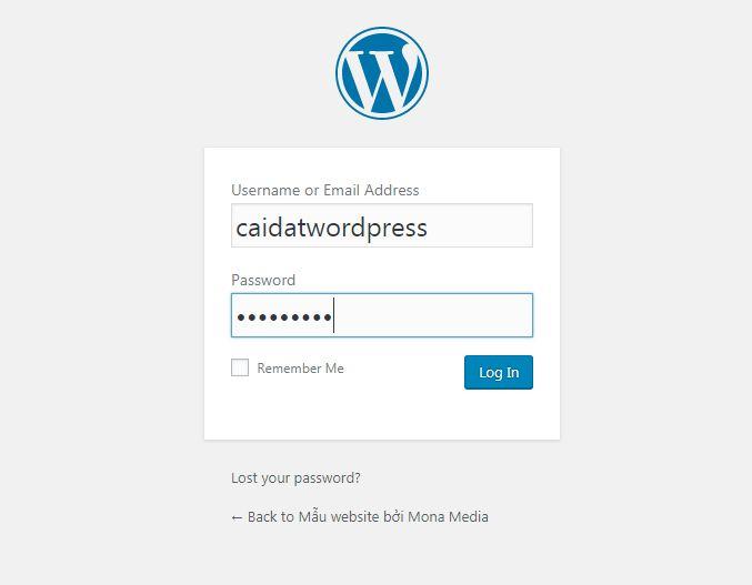 Đăng nhập vào website wordpress