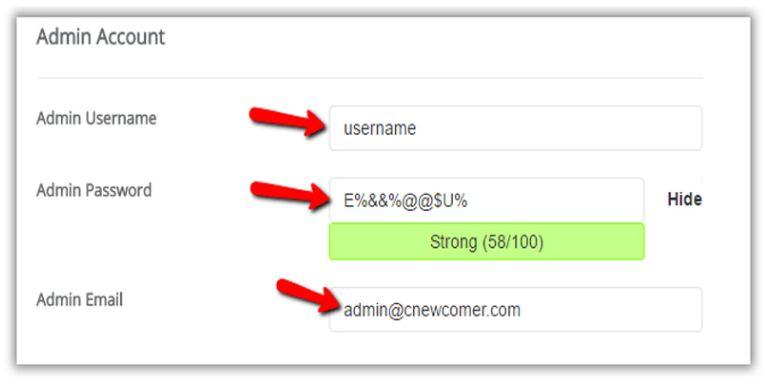 Thiết lập tài khoản admin wordpress