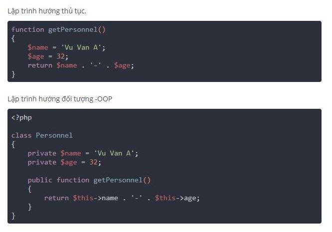 Lập trình theo hướng thủ tục và lập trình hướng đối tượng.