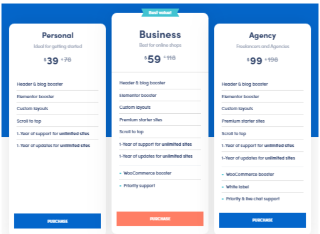 neve wordpress theme pricing