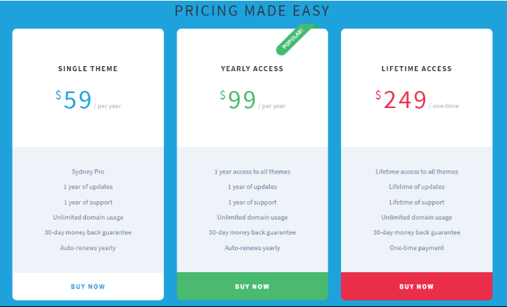 sydney wordpress theme pricing