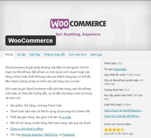 phần mềm mã nguồn mở woocommerce